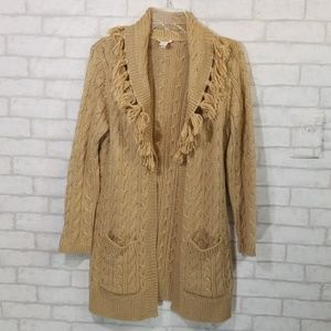 Chicos tan cable knit one button fringe cardigan 1